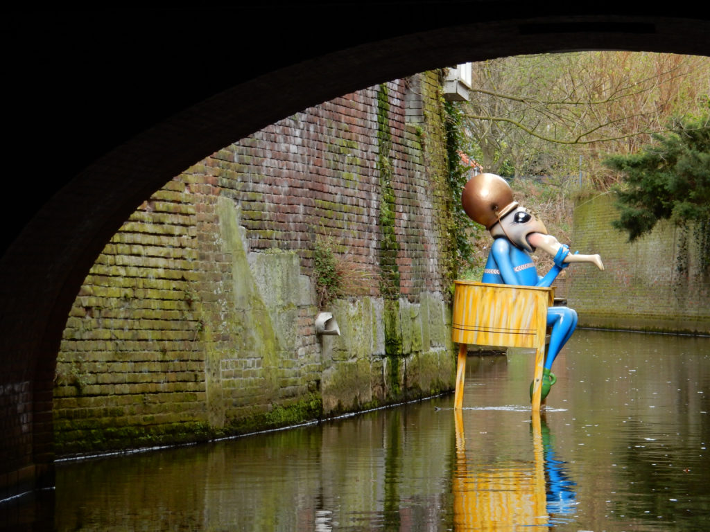 Jheronimus Bosch inspired sculpture in 's-Hertogenbosch canal