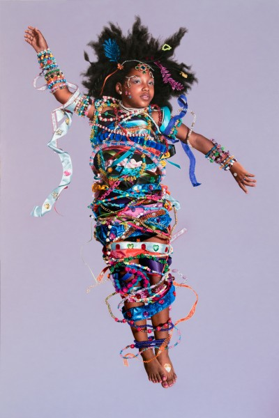 Girl Bound in Ribbons and Beads