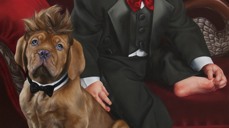 Portrait of Timmy Tuxedo and His Bow Little Wow Pal (detail)