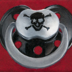Rock Star Baby Black Pirate Skull Tattoo Pacifier
